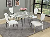 Milan LETICIA-GL48-LAILA-5PC Leticia Glass Cabriole Designed 5 Piece Dining Set with Heart Shaped Chairs For Sale