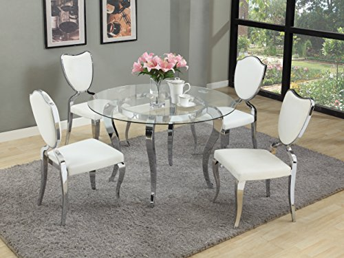 Milan Set Piece 5 (Milan LETICIA-GL48-LAILA-5PC Leticia Glass Cabriole Designed 5 Piece Dining Set with Heart Shaped Chairs)