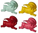Red Pink Teal and Yellow Flying Pigs with Wings Single Wall Hooks Set of 4