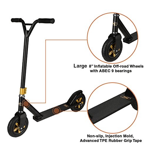 - Xspec Aluminum Pro Stunt Dirt Kick Scooter Offroad Tires All Terrain Mountain, Matte Black & Gold, Oversized BMX Handlebars with 3-Bolt Clamp, Freestyle Fun Kids Outdoor Sports