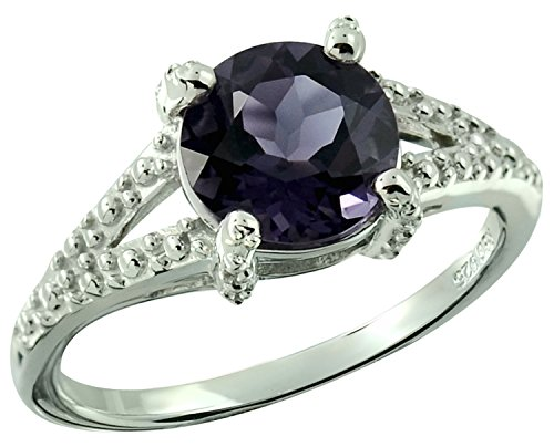 1.75 Carats Natural Blueberry Quartz Rhodium-plated Sterling Silver Ring (6) Quartz Silver Plated Ring