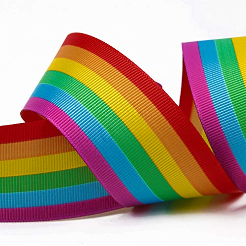 Laribbons 1-1/2 inch Wide Double Face Rainbow Stripe for sale  Delivered anywhere in Canada