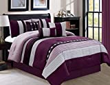 Luxlen 7 Piece Luxury Bed in Bag Comforter Set, Oversized, Purple, King