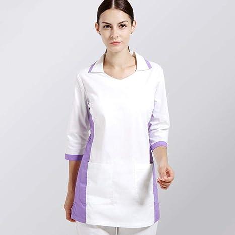 OPPP Ropa médica Conjunto de Uniformes hospitalarios para Mujeres y Hombres Ropa médica Blanca Uniforme de