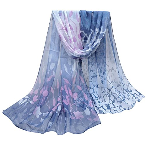 Silk Chiffon Dress Set (Zomup Women Lightweight Floral Printed Silk Soft Silk Chiffon Shawl Wrap Shawl Scarf Fall Winter Scarves (Dark Gray))