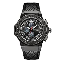 JBW Men's JB-6101L-I Saxon Black Ion Braided Leather Diamond Watch