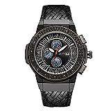 JBW Men's JB-6101L-I Saxon Black Ion Braided Leather Diamond Watch