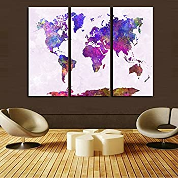 Amazon world watercolor map 3 poster posters prints world map poster the world in watercolours frame hanging directly 16x32x3ps gumiabroncs Gallery