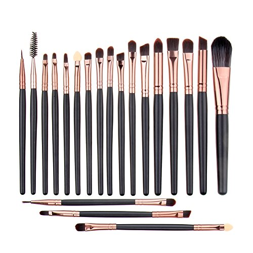UNIMEIX Eye Makeup Brushes Set Eyeliner Eyeshadow Blending Brushes (20 Pieces Coffee) ()