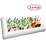 YOHEER Inflatable Salad Bar Buffet - Large Buffet Tray Server With Drain Plug- Ice Cooler Beverage Serving Bar-Food Drink Holder - For Parties Indoor & Outdoor use Bar Party Accessories (2 in pack)