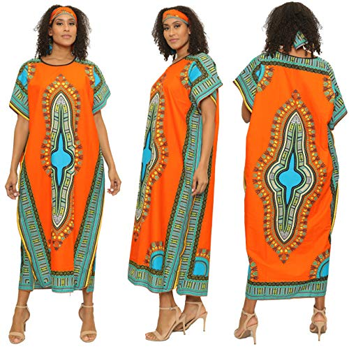 Dashiki Print Kaftan Dress African Print Dashiki Kaftan with Head Scarf (One Size, Orange) ()