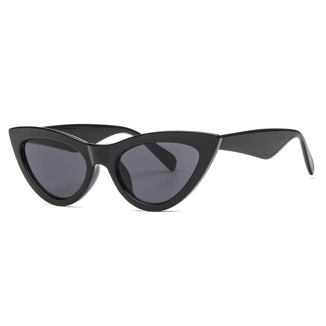 8f48e7740fb Amazon.com  AEVOGUE Womens Sunglasses Cat Eye Vintage Mirrored Lens Plastic  Frame UV400 (Black