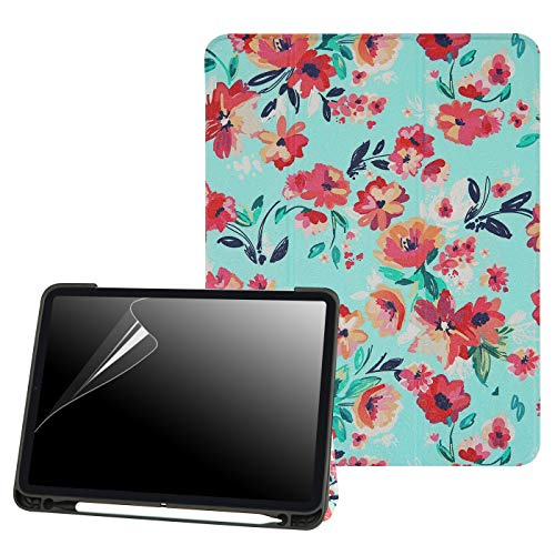 HDE iPad Pro 11 Case 2018 with Apple Pencil Holder [Supports Apple Pencil Charging], Protective Smart Cover Shell Stand Trifold Case for Apple iPad Pro 11 Inch 2018 Release (Turquoise Floral)