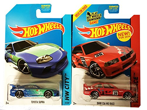 Hot Wheels 2015 Toyota Supra #22 & BMW E36 MS Race #169 2-Ca