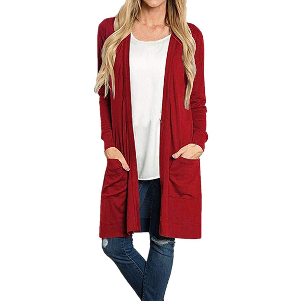 NUWFOR Women's Solid Knitted Open Front Long Trench Coat Cardigan with Pockets?Red,XL?