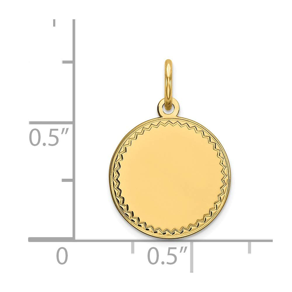 14K Solid Yellow Gold Plain .009 Gauge Engravable Round Disc Charm 19mm x 13mm