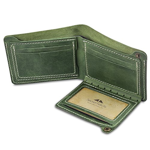 Leather Guy Cowhide (Secret Felicity Men's Leather Bifold Wallet,Entirely Handmade (SF1001) (Green))