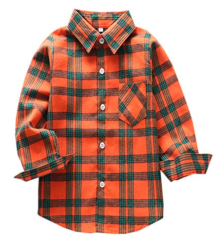 Boys Cotton Long Sleeves Button Down Flannel Plaid Checkered Shirt 9# Orange, Tag 160 for 9-10 Years
