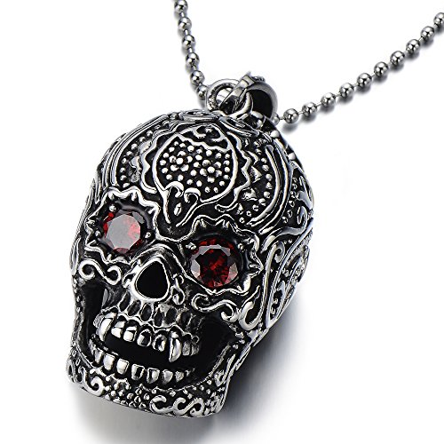 Cubic Skull Pendant - Stainless Steel Sugar Skull Pendant Necklace for Man with Red Cubic Zirconia with 23.4 in Ball Chain