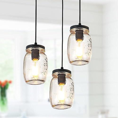 PUUPA 3 Lights Farmhouse Mason Jar Chandeliers Ceiling Light Fixture