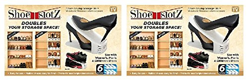 - 6-Pack Space-Saving Shoe Slotz Storage Units in Ivory | As Seen on TV | No Assembly Required (2)