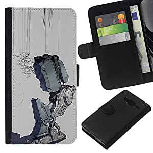 Supergiant (Sad Robot Depression Grey Futuristic) Dibujo PU billetera de cuero Funda Case Caso de la piel de la bolsa protectora Para Samsung Galaxy Core Prime / SM-G360