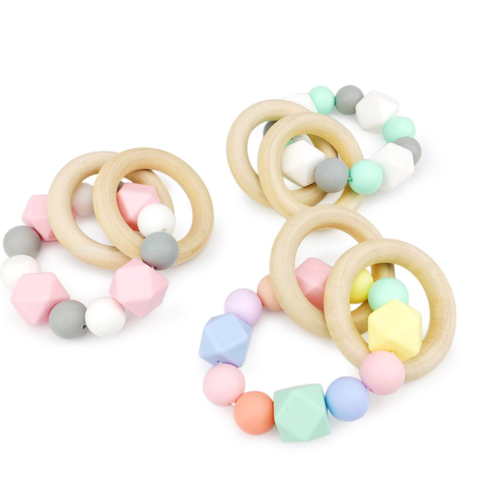 Baby Love Home 3pcs Silicone Bracelet Baby Gym Teething Wooden Ring Silicone Beads Montessori Rattle Kid Shower Gifts