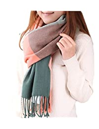 Women's Fashion Long Shawl Big Grid Winter Warm Lattice Large Cashmere Scarf (A)