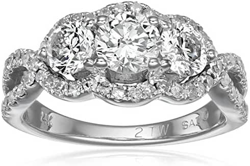 14k White Gold Diamond Three-Stone Ring (2cttw, I-J Color, I2-I3 Clarity), Size 7