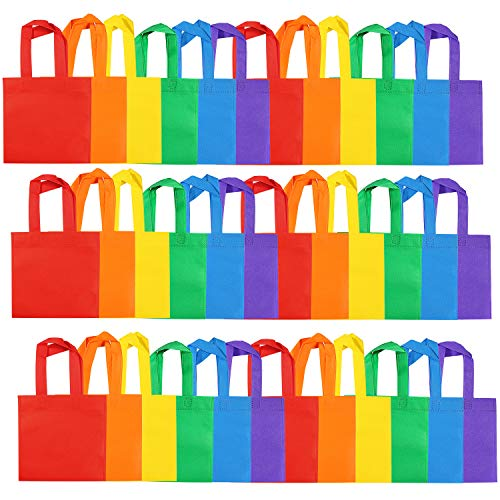 Aneco 36 Pack Non-Woven Party Bags Rainbow Color Gift Bag Non Woven Tote Bags Birthday Party Bag with Handles for Party Favor,8 by 8 Inches, 6 Colors