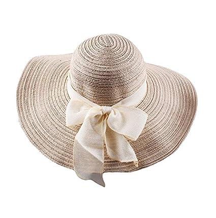 51b3c298f51 Imported Women Beach Hat Derby Cap Wide Brim Floppy Fold Summer Straw Hat  Beige  Amazon.in  Clothing   Accessories