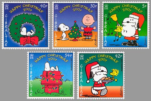 Gibraltar Snoopy/Peanuts Christmas Set of 5 Collectible Postage Stamps