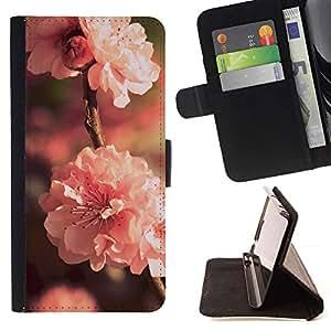 Momo Phone Case / Flip Funda de Cuero Case Cover - Flor Rosa;;;;;;;; - Sony Xperia Z5 5.2 Inch (Not for Z5 Premium 5.5 Inch)