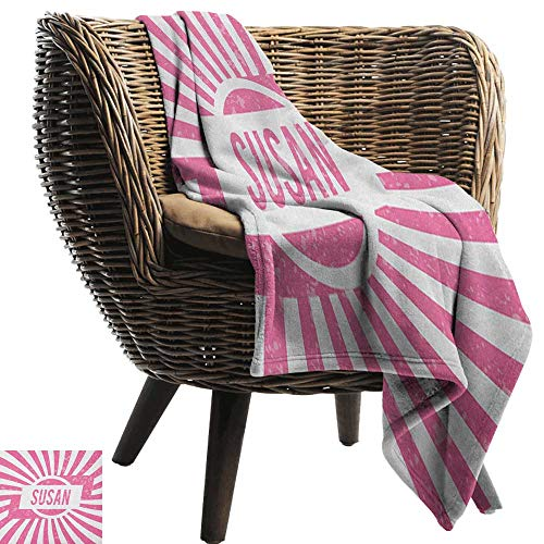Warm Blanket Susan Female Name with Grunge Effect Birthday Girl Celebration Striped Backdrop Cozy for Couch Sofa Bed Beach Travel50 Wx60 -
