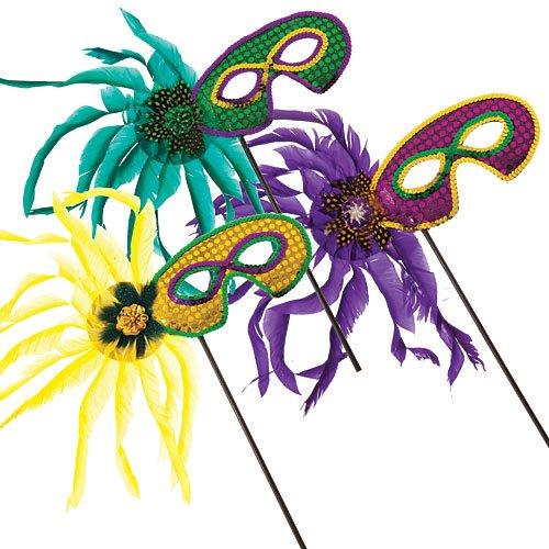 Shindigz Feather Mardi Gras Masks Set of 12 (Mask Stick Feather)