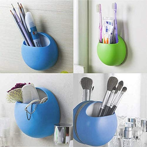 Green Fantasyworld Home Bathroom Toothbrush Wall Mount Holder Sucker Suction Cups Organizer Pure Color Plastic Wall Suction Bathroom Sets