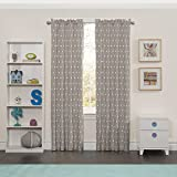 Eclipse Kids Curtains Eclipse 15939042X063GRE Peanut Pals Kids Window Curtain Panel, Grey, 42 x 63