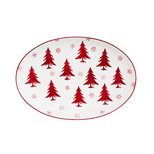 Platter Oval Holiday Serving (Euro Ceramica Winterfest Collection Festive 14.5