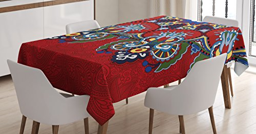 Ambesonne Red Mandala Tablecloth, Russian and Ukranian Ethnic Lace Like Flowers Leaves Swirls Vintage Artwork, Dining Room Kitchen Rectangular Table Cover, 60 W X 84 L Inches, Multicolor