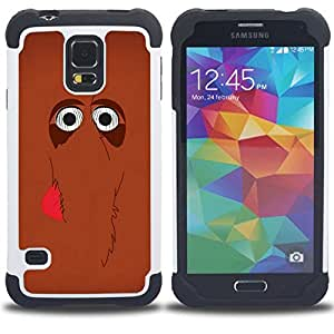 Jordan Colourful Shop - Cute Mammoth Elephant Cartoon Brown For Samsung Galaxy S5 I9600 G9009 G9008V - < Llevar protecci????n de goma del cuero cromado mate PC spigen > -