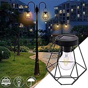 m·kvfa Stainless Steel Solar Light Garden Light Wrought Iron Lantern Hanging Lamp for Lawn Patio Courtyard Yard Hanging Porch