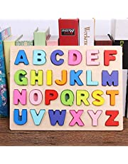 Kunmark Wooden Alphabet Puzzle ABC Jigsaws Chunky Letters Early Learning Toys for Kindergarten and Toddlers-est Educational Toy Preschool Learning, Spelling, Counting