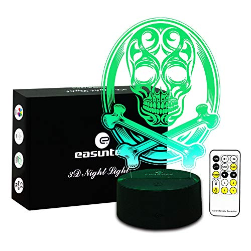 Night Lights for Kids Skull lamp 3D Night Light 7 Colors Change with Remote New Halloween Gifts for Kids or Halloween Decorations 2017 by Easuntec (Skull)