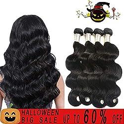Finest Remy Brazilian Virgin Body Wave human Hair 4 Bundles 7A 100% Unprocessed Hair Weft Mix length(14141616,Natural Black)