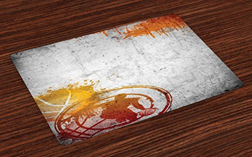 Ambesonne Basketball Place Mats Set of 4, Basketball Streetball and Paint Stains Image on Concrete Wall Rustic Print, Washable Fabric Placemats for Dining Room Kitchen Table Decor, Charcoal Orange (Garden Balls Concrete For Walls)