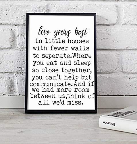 Arvier Love Grows Best in Little Houses Like This Printable Love Grows Best Printable Little House Print Love Print Little House Sign Framed Wall Art (Love Grows Best In Little Houses Printable)