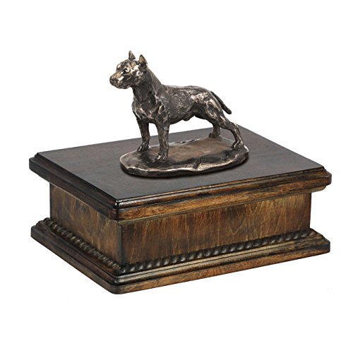 (American Staffordshire Terrier (Cropped), Memorial, urn for Dog's Ashes, with Dog Statue, Exclusive, ArtDog)
