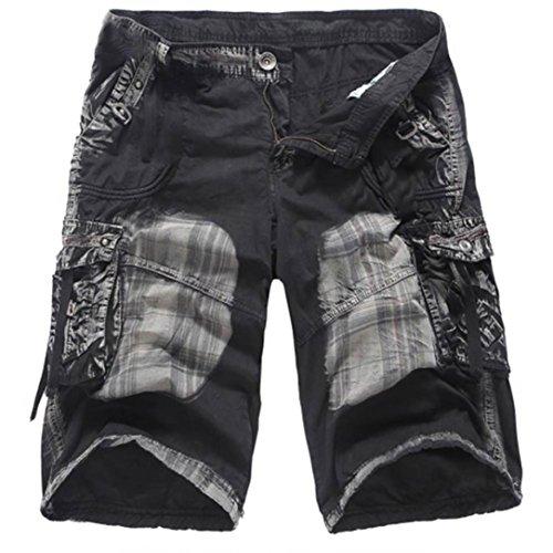 Rucan Fashion Mens Casual Pocket Beach Outdoor Camouflage Cargo Shorts (Black, 29)