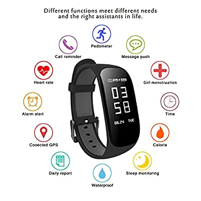 Fitness Tracker,laucin Z17 Activity Wristbands with Heart Rate Monitor: IP67 0.96''OLED Sports Bracelet Sleep Monitoring/GPS Track/Camera Control/Screen Brightness Adjustment for Android and iOS