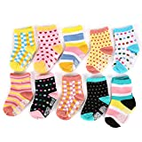 Dimore Cotton Non-skid Baby Socks Baby Socks Gift Set – 10 -Pack Bright Colored Socks – Kid Socks - Newborn Footie(2 Styles) (wave point)
